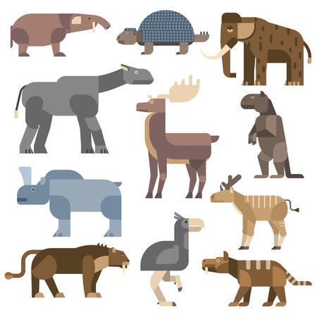 child of school age: Vector prehistoric animals. Prehistoric cartoon ancient mammal ice age animals and wildlife isolated ice age animals. Wild extinct art ice age animals and wild prehistoric ice age animals.