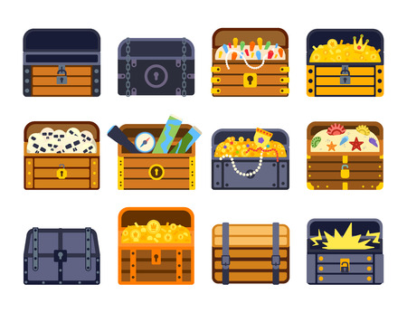 Vintage wooden treasure chest with golden coin vector illustration. Treasure chest isolated on white. Treasure chest box gold old isolated box and wealth antique, open money treasure chest.
