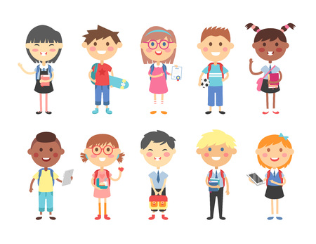 learner: Group of kids going to school together. School kids happy character vector. School kids little cute primary school people. School kids positive youngster smiling children, contemporary learner kids.