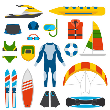 water skiing: Summer beach party fun entertainment vector illustration. Beach diving equipment, summer fun entertainment. Summer fun entertainment. Holiday vacation leisure sun beach party festival travel icons. Illustration