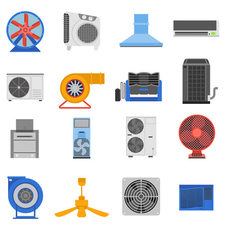 electric system: Set of ventilation and conditioning system icon vector illustration. Ventilation technology electric system and  conditioning air fan ventilation. Cooler wind metal vent appliance flow ventilation.