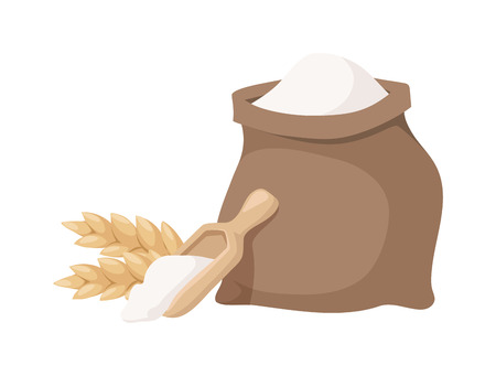 Jutezak van volkoren brood bloem met houten lepel op een witte achtergrond. Witte bloem zak zak en meel zak brood biologisch graan natuurlijk ingrediënt. Flour rugzak landbouw graan jute bakken.