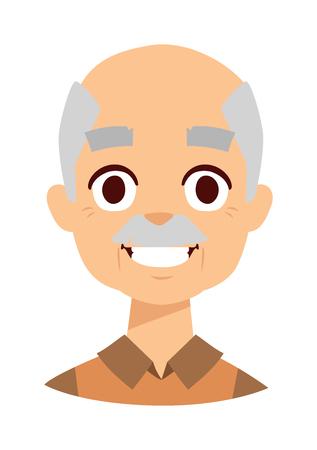 mature: Laughing old elder senior healthy man portrait smiling grandpa. Smiling grandpa vector illustration and smiling grandpa mature retired older citizen. Smiling grandpa handsome friendly expression man.