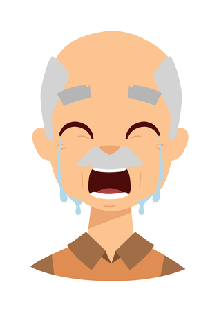 frustration: Female senior citizen. Lonely crying grandpa vector. Crying grandpa tears on eyes and man problem stress crying grandpa. Crying grandpa unhappy despair man and crying grandpa frustration headache.