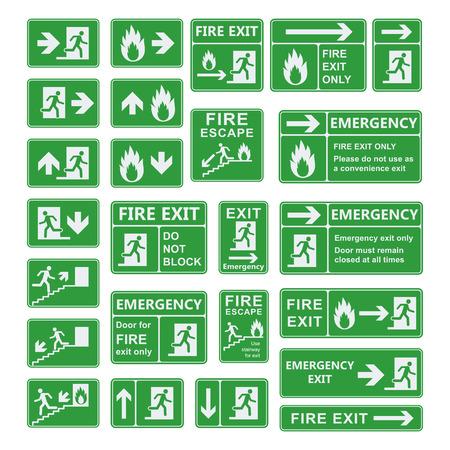 salida de emergencia: Conjunto de vector de señal de salida de emergencia. salida de incendios, salidas de emergencia, punto de reunión de fuego, carril de evacuación, extintores de incendios. Para uso de emergencia solamente, no hay re-entrada Señal de salida de edificio. Salida de la muestra testigo verde.