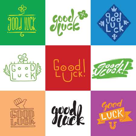 luckiness: Good luck. Hand lettering. Greeting backgrounds good luck lettering. Good luck lettering greeting message text background and  farewell banner wish good luck lettering happiness lucky happy graphic. Stock Photo