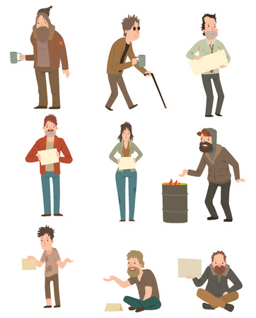 Homeless skinny saggy man in dirty old clothes character set. Homeless guys isolated on white background. Homeless character. Homeless human vector illustration. Homeless poor social people.