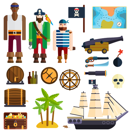 jolly roger: Pirate accessories symbols flat icons collection with wooden treasure chest and jolly roger flag abstract vector illustration. Pirate symbols anchor treasure set and pirate symbols parrot treasure map.