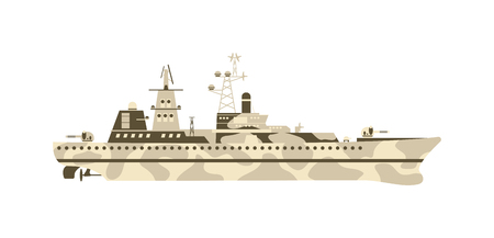 Grey modern warship sailing still water vector. Military ship navy war sea warship and military ship boat vessel weapon. Military ship transportation naval water battle destroyer marine forces. Vettoriali