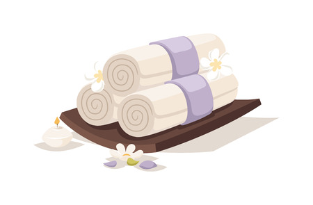 aroma therapy: Asian spa towel and aroma oil spa symbols. Flower therapy water medicine spa relaxation towel symbol. Spa sketch towel symbols aroma avector. Spa towel  vector