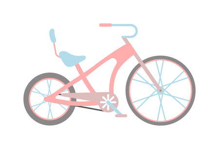 pink bike: Stylish womens pink bicycle isolated on white background wheel pedal transportation vector. Cute pink bicycle isolated and girl pink bike. Romantic sport pink bike retro transport cute design.