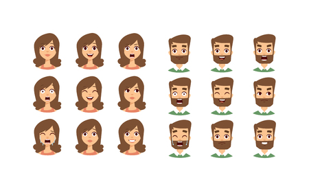 funny bearded man: Human emotion face expression icons and beauty human emotion face vector. Isolated set of Human emotion face avatar expressions face emotions vector illustration. Human emotion face set.