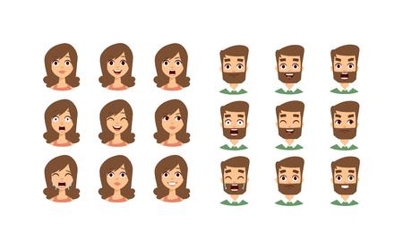 人間の感情表現アイコンと美容人間の感情面のベクトル。人間の感情の顔アバター式顔感情ベクトル図のセットを分離しました。人間の感情面を設定します。