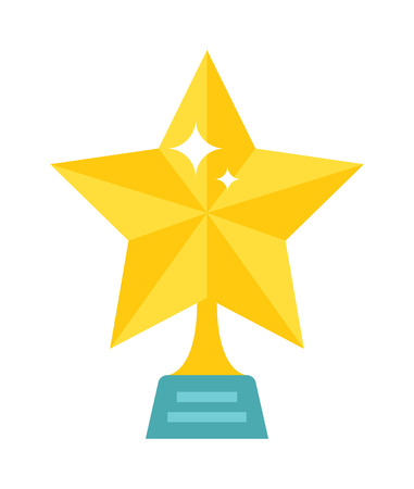 star award: Gold star award on blank metal trophy isolated. Star award golden first place prize as an icon success and achievement star award sports or entertainment competition. Winner gold shiny star award. Illustration