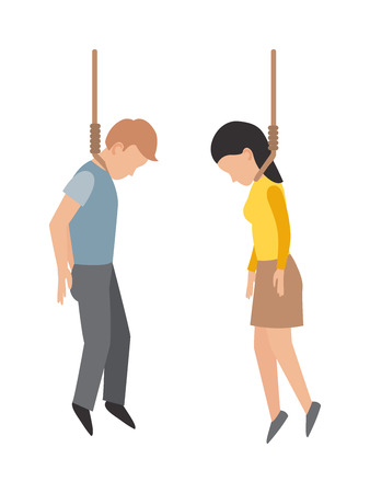 execution: Suicide gallows people, despair, death and gallows people concept. Gallows people young man making gallows or hanged gesture and crime young gallows people execution punishment noose death hang.