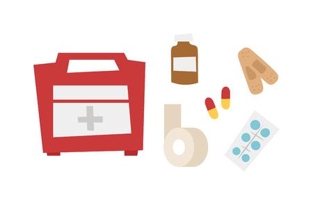 Safety car medische kit set geïsoleerd op een witte achtergrond. Car medische kit vector en gezondheid car medische kit design. Healthcare ambulance icoon safety case car medische kit. Vervoer waarschuwing zorg.