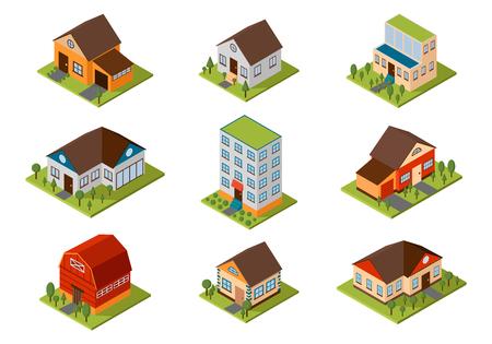 현대 가정과 아이소 메트릭 하우스 작은 큰. 아이소 메트릭 주택 아키텍처 부동산입니다. 현대 주택과 아이소 메트릭 코티지 주택. 아이소 메트릭 주택 일러스트