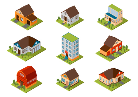 Modern homes and isometric house small to large. Isometric homes architecture real estate. Modern homes and isometric cottage houses. Isometric house property residential isolated building.