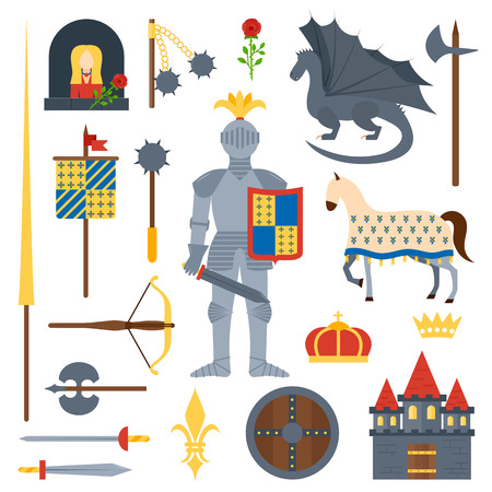 flower age: Heraldic knight symbols and elements vector set. Medieval kingdom legendary armored knight symbols warrior with lance and knight symbols attributes flat icons set abstract isolated vector.