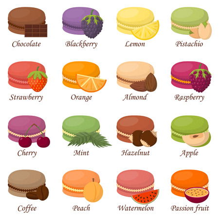 macaron: Sweet and colourful french macaroons or macaron on white background. Dessert fruit macaroons and different colors macaroons. Pasty traditional sweet macaroons biscuit dessert france delicious.