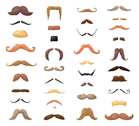 Huge set of vector mustache. Mustache black hair and man mustache hipster set. Mustache retro curly collection and face beard mustache. Mustache barber silhouette hairstyle hipster mask disguise. Illustration