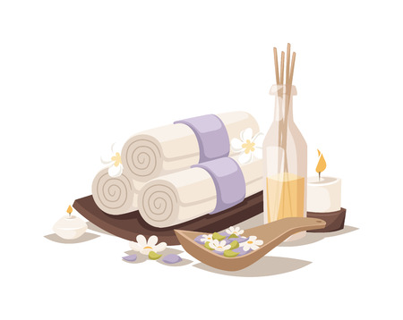 aroma therapy: Asian spa towel and aroma oil spa symbols. Flower therapy water medicine spa relaxation towel symbol. Spa sketch towel symbols aroma avector. Illustration