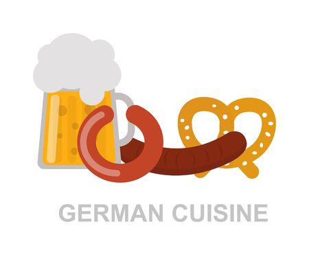 german food: Oktoberfest beer mug german food and traditional german pretzels, german food. German food oktoberfest meat snack dinner and traditional dish german food. Sausage bavarian pork beer gourmet food. Illustration