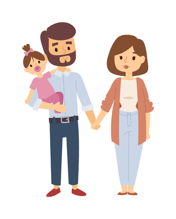 young family: Beautiful young family portrait and happy family portrait. Family portrait togetherness smiling man beautiful, woman cute baby family portrait. Family portrait parents adult cheerful people. Illustration