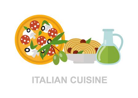 mediterranean food: Some ingredients of Italian cuisine. Italian cuisine. Italian food italian pizza, delicious pasta, olive oil italian food. Healthy mediterranean sauce, spaghetti Italian food nutrition vegetarian. Illustration