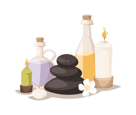 massage herbal: Spa symbols cartoon decorative icons. Set with bamboo towels, aroma candles isolated vector illustration spa symbols and body wellness spa symbols natural treatment element. Massage herbal concept. Illustration