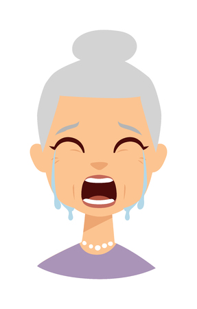 sad lady: Portrait of old woman crying face and portrait sadness granny crying face. Crying face adult person unhappy depression woman and crying face old grandmother tearfully. Despair woman tears on face. Illustration
