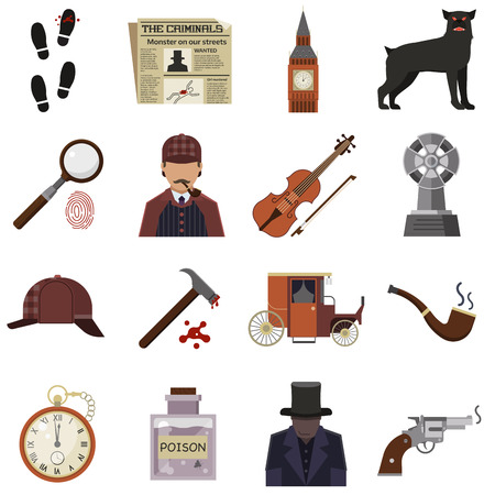 stone tombstone: Vector detective crime icons set magnifier and handprint, knife in hand, smoking pipe, detective, crime scene, revolver, Detective crime, detective character design. Detective crime icon set element. Illustration