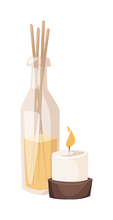 aroma: Composition of spa treatment. Aroma spa candles vector and aroma spa candles health relaxation. Massage aroma spa and healthy flower natural candles. Nature zen treatment flame stone aroma spa candles