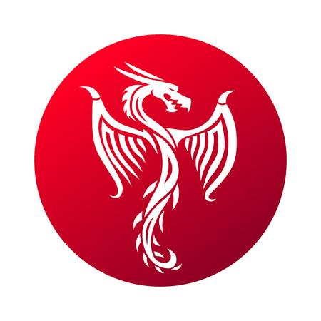 赤い紙ドラゴン中国星座のシンボル。中国語ドラゴン ベクトルと赤い中国のドラゴン アート。中国のドラゴンのシンボル文化伝統的なアート デザ