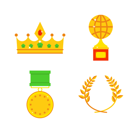 honors: Gold awards vector set. Honors icons award medal and honors icons victory winner prize. Gold honors icons and honors icons medal achievement victory trophy winner. First competition reward sign.