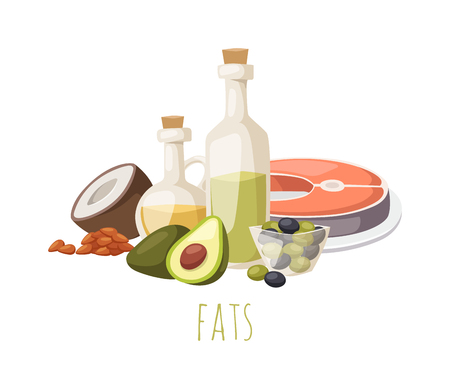 Good fats diet avocado, dry fruits and oil. Fats healthy food vector and good fats food. Fresh diet fats food and green olive fats food nutrition fish raw. Good delicious vegetarian good fats food. Vectores