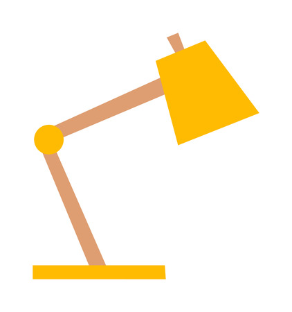lamp power: Yellow desk lamp isolated on white background. Yellow lamp vector and light yellow lamp power energy design. Yellow lamp electricity light electric object. Retro color illuminated metal interior lamp. Illustration