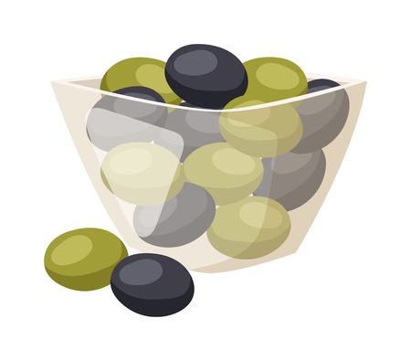 appetizers: Green and black olives from above plate. Olive in plate vector and green olive in plate food. Olive in plate organic vegetarian healthy fruit and olive in plate cooking appetizer leaf plant branch.