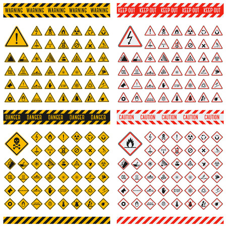 electricity danger of death: Triangular warning hazard symbols. Big set danger sign vector illustrator. Danger sign safety warning collection and risk caution stop danger sign. Security toxic yellow triangle sign.