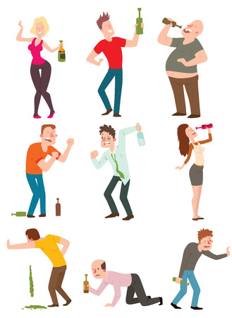 one man only: Vector cartoon drunk people with alcohol bottle illustration. Drunk people bottle man and glass alcoholic wine party alcoholism lifestyle drunk people. Drunk people happy handsome single guy.