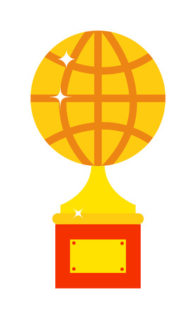 gold globe: World globe trophy cup. Vector globe award and gold globe award. Globe award golden success trophy and globe award ceremony achievement. Globe award reward first celebration icon championship.