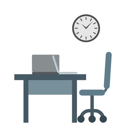 overtime: Businessman working place overtime late night in office vector. late for work concept vector and working place with clock late for work. Late for work manager career concept professional occupation. Illustration