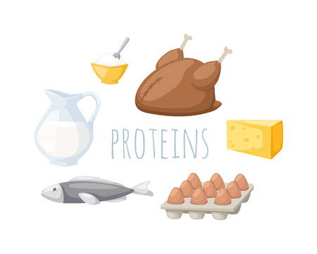 isolated ingredient: Food high in protein isolated on white. Proteins food healthy ingredient meat and raw group proteins food. Proteins food nutrition health fish organic eat cheese proteins food gourmet balance energy.