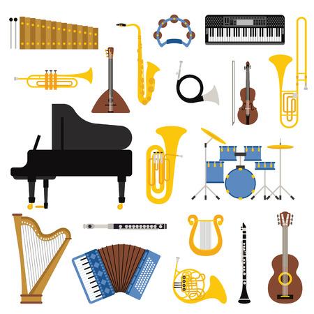 다른 음악 악기 벡터와 음악 악기. 악기 음악 기타 바이올린과 클래식 음악 악기 콘서트 트럼펫 악기 소리. 악기 컬렉션입니다.