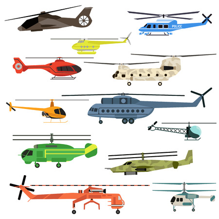 Fly helicopters collection vector. Helicopters fly air transportation and sky rotor helicopters. Helicopters travel aviation propeller, copter vehicle helicopters engine emergency speed aerial.