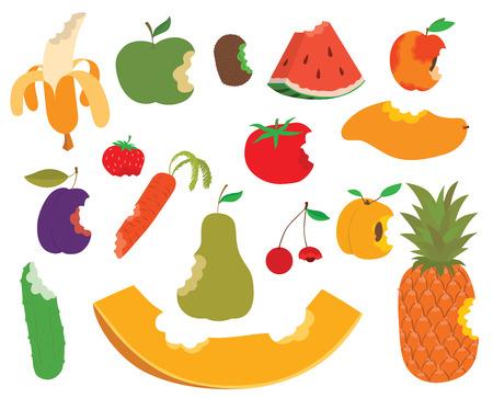 apple bite: Various fruits bite, eaten apple shape vector and sweet fruit bite food. Food healthy isolated fresh apple fruit bite and diet juicy, green delicious fruit bite eat dessert nutrition. Fruit bite.
