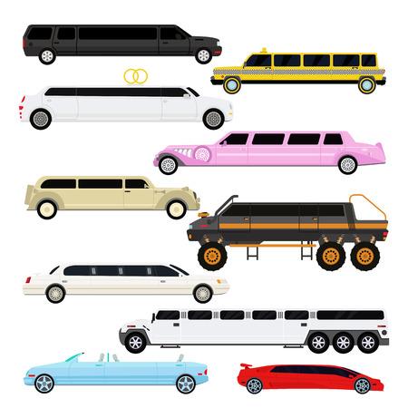 limousine: Detailed vector luxury limousine car set and limousine black long car. Vector limousine. Illustration limousine detailed and luxury limousine car. White and color limousine long business car design.