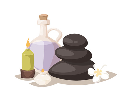 massage stones: zen basalt stones and aroma oil with candle. Aroma spa stones vector and wellness aroma spa stones. Aroma spa stones relax massage and medicine aromatherapy natural aroma spa stones. Illustration