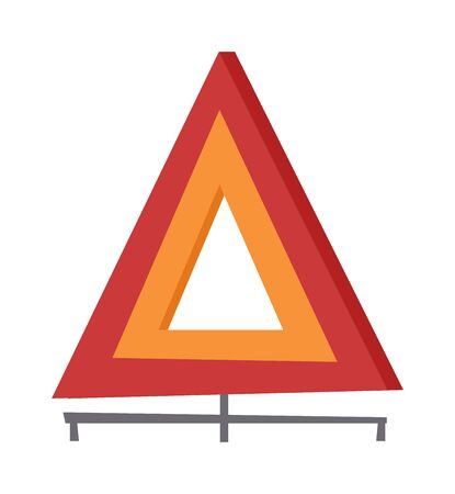 in trouble: Emergency warning triangle vector and emergency triangle accident red sign. Safety traffic road emergency triangle and warning vehicle emergency triangle. Travel failure trouble emergency triangle.