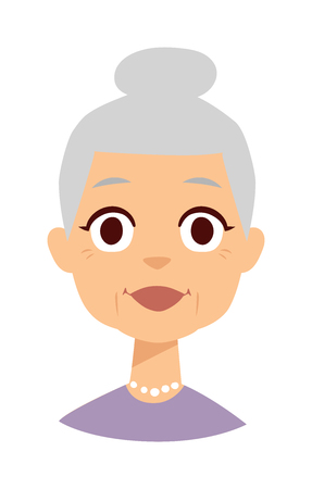 one of a kind: Very attractive senior lady smiling isolated on white. Granny face vector and granny face cute cartoon lady. Granny face old senior female person and elderly beautiful age granny face.